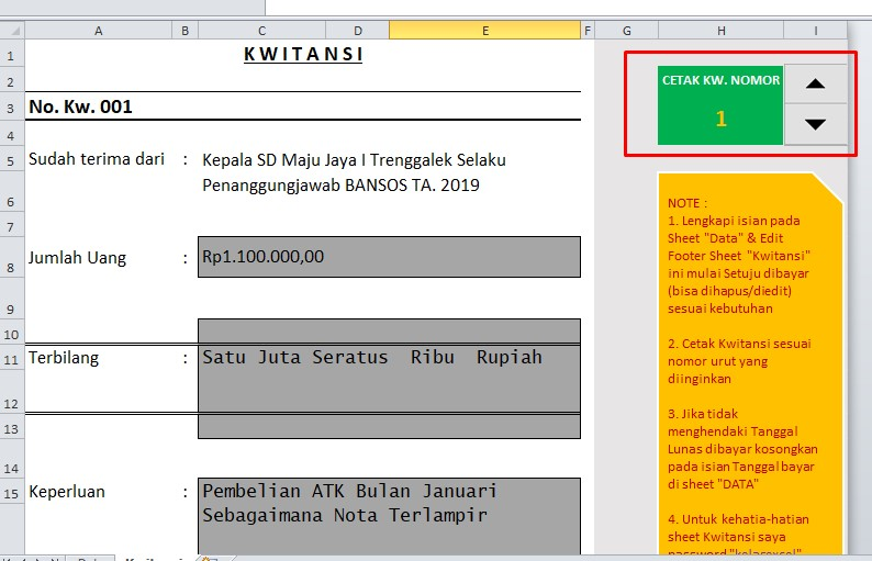 Hasil download kwitansi tanda terima