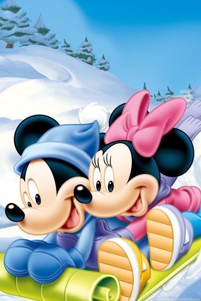 wallpaper kartun mickey mouse salju