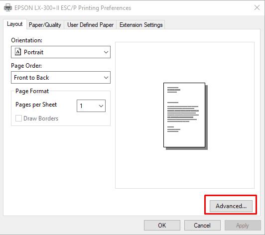 setting printer dot matrix