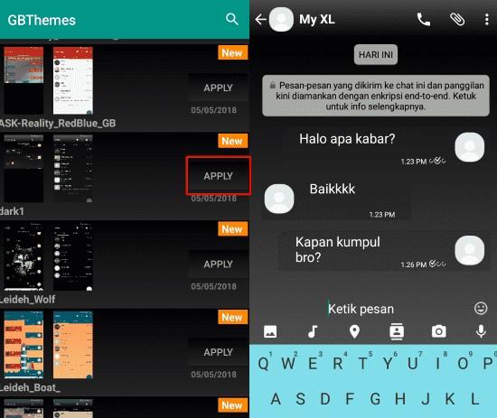 cara mengganti tema whatsapp dengan GB themes