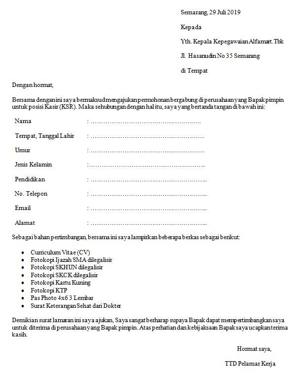 Contoh Surat Lamaran Kerja Di Indomaret Bagian Kasir Kumpulan