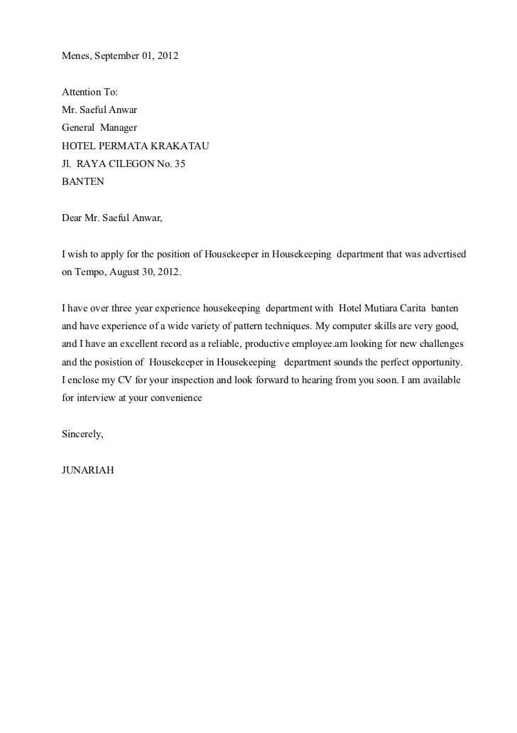Contoh Surat Lamaran Kerja Di Hotel Download 25 Contoh