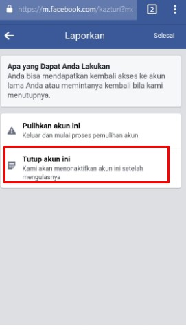 cara menghapus akun facebook lupa password