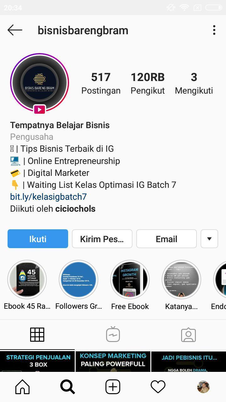 contoh bio instagram bisnis