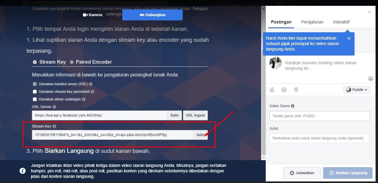 Cara Live Streaming Game di Facebook Lewat Laptop