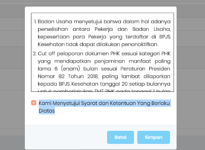 review data disclaimer penonaktifan peserta