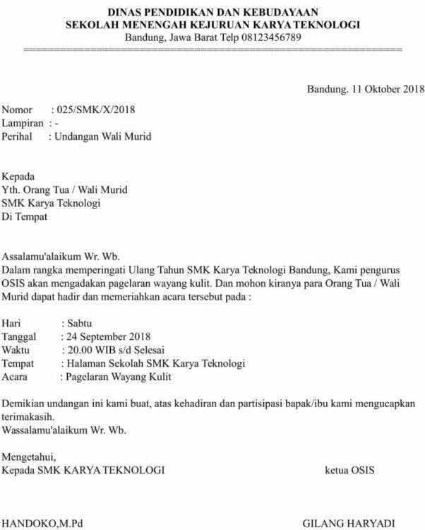 Contoh Surat Undangan Resmi Rapat Orang Tua Wali Murid