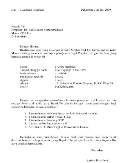 29 Copy Paste Surat Lamaran Kerja Via Email Kumpulan Contoh Gambar