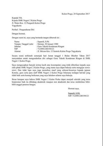 Contoh surat resign dari pekerjaan