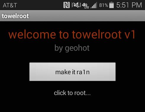 Tampilan aplikasi TowelRoot